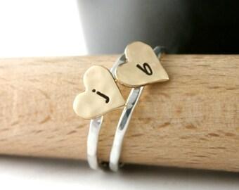 Heart Rings, Custom Initial Rings, Sweetheart Rings, Stack Rings, Sterling Silver And Brass