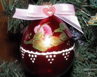 Hand Painted Acrylic Original-Christmas Ornament-Burgundy, Rose Bud-Pink