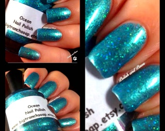 Duochrome Nail Polish - Green - OCEAN - Custom Blended Polish/Lacquer - 0.5 oz Full Sized Bottle