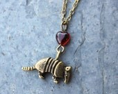 Armadillo necklace - antiqued bronze animal pendant & red heart, antiqued brass chain - free shipping USA