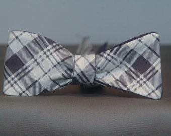 Blue & Cream Plaid  Bow Tie