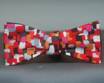 Meshed Red and Black Boxes  Bow Tie