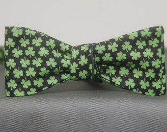 Mini Shamrocks on Black  Bow Tie