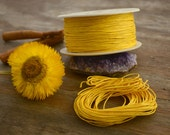 Yellow: Braided, Cotton Cord 1mm, 25ft (8.33 yards) / Gold Neutral thread / Perfect for Shamballa, DIY Supplies, Cotton Twine, Supplies