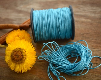 Turquoise Blue: Braided, Cotton Cord 1mm, 25ft (8.33 yards) / Bluel thread / Perfect for Shamballa, DIY Supplies, Cotton Twine, Supplies