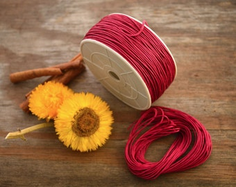 Red: Braided, Cotton Cord 1mm, 25ft (8.33 yards) / Scarlet thread / Perfect for Shamballa, DIY Supplies, Cotton Twine, Supplies