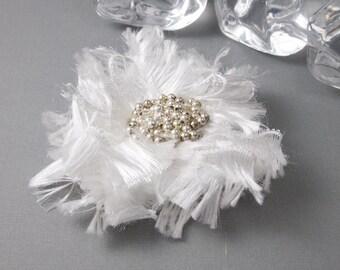 White Beaded Flower Brooch