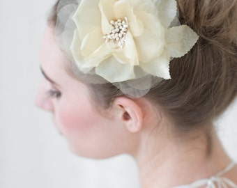 Wedding Silk Flower Hair Clip, Light Gold Bridal Fascinator, Wedding Hair Accessory