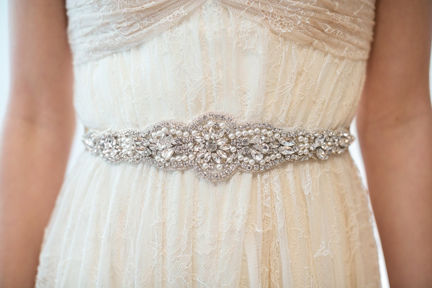 Bridal Gown Sash Wedding Dress Sash Rhinestone Beaded Sash