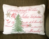 Christmas Pillow Cover, Holiday Throw Pillow, Cushion Cover, Red Green Christmas Decor, Christmas Tree, French Script, 12 x 16 or 12 x 18