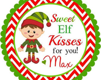 Stickers boy elf labels personalized labels elf kisses set of 12