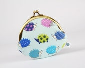 Metal frame coin purse - Little hedgehogs on light blue - Daddy rounded purse / Japanese fabric / flowers dots / cobalt mauve lime green
