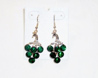 Beautiful Green & Clear Rhinestones Peacock Earrings