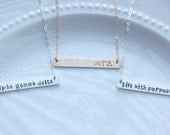 ALPHA GAMMA DELTA Necklace, Silver Bar Necklace, Silver Sorority Bar Necklace, Gold Bar Necklace Sorority Jewelry Sorority Big Little Gift