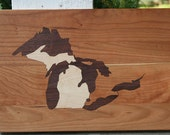 Michigan Great Lakes Cutting Board or Serving Platter  maple, cherry, and black walnut hardwoods with FREE wood conditioner Cherry Field