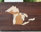 Michigan Great Lakes Cutting Board or Serving Platter  maple, cherry, and black walnut hardwoods with FREE wood conditioner Walnut Field