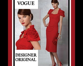 Glamorous Cocktail Dress-Vogue Designer Original-Sewing Patter-Fabric Rose -Sexy Fit-Princess Seams-Pleated Neckline-Uncut-Size 14-20-Rare