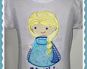 Girls Embroidered  Frozen Inspired  Elsa Baby Yellow , blue, tee,  t-shirt