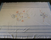 98x75 Large 1930s Vintage 30s Blue & White Cotton Flower Basket Embroidered Long Rectangle Banquet Tablecloth Table Cloth