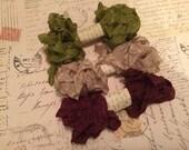 Crinkled Seam Binding 15 Yards, Dusty Olive, Tan, Burgundy Rust