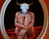 Nude Pinup Girl with Bull Skull original oil painting
