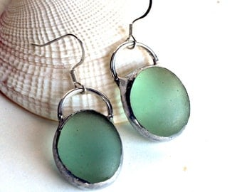 Frosted Seafoam Green Stained Glass Earrings - Stained Glass Jewelry