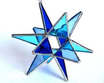 NEW Stained Glass Moravian Star - Four Seasons Winter Blue-Home Decor -  4.5""