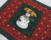 Quilted Christmas Snack Mat Mug Rug Snowgirl Red Green