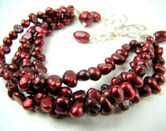 Red pearl bracelet, multi strand bracelet, red freshwater pearls... Crimson