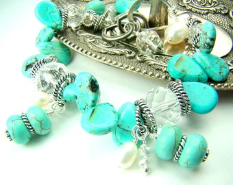 Turquoise and pearl bracelet, gemstone charm bracelet, chunky turquoise, robin egg blue pastel