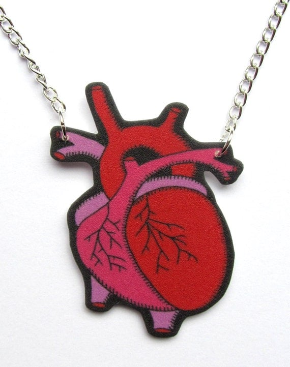 Anatomical Heart Necklace Tattoo style Goth Punk Rock Macabre