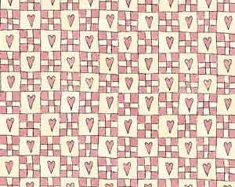 Price Reduced!  Pink Hearts & Squares (5174-22) - BTY - Henry Glass