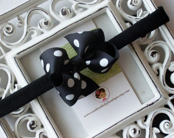 New Item----Boutique Baby Girl Hair bow Dainty Headband-----Black Dot----Makes a Perfect Gift