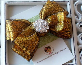 INVENTORY BLOWOUT SALE----Boutique Double Layered Hair Bow Clip with Rhinestones-----Satin Gold with Black and Gold Mesh----