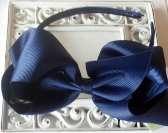 NEW----Hair Bow U-Shape Satin Headband----Navy Blue----Ready to Ship----