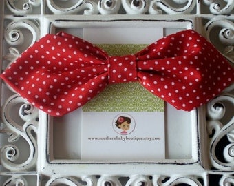 NEW---Retro Fabric Bow----Red with White Dots----Ready to Ship----