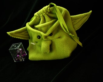 Wartgrub the Big Orc Dice Bag! holds 300 Dice!  Handheld Video Game case, DS DSi drawstring pouch, wristlet purse Goblin, Orc, in moss green