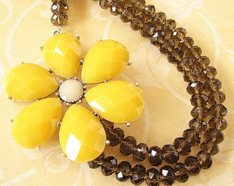 Crystal Necklace Statement Necklace Flower Necklace Grey Necklace Yellow Jewelry Beaded Necklace Gift For Her