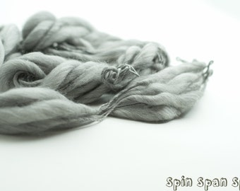 Pure Grey Thickest and Thinest Chunky, HandSpun Undyed  Organic Extra Fine Merino Yarn, Extra Bulky, 55 yards