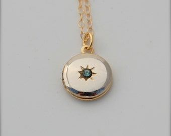 Locket Jewelry Bridesmaid Gifts Birthstone Jewelry Necklace Mini Lockets Tiny Locket Necklace Turquoise Stone Teal Aquamarine Gold Filled