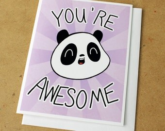 You're Awesome Panda Greeting Card - Purple