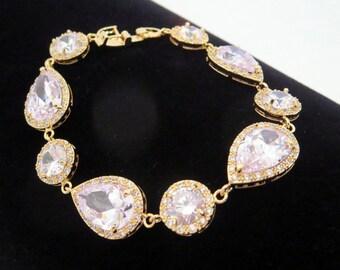 Gold Bracelet, Bridesmaid bracelet, Crystal Bridal bracelet, Rhinestone bracelet, Bridal jewelry, Bridesmaid jewelry, Tennis bracelet