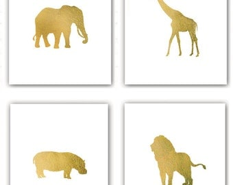 SALE Set of 4 Zoo Animal Prints - Giraffe Hippo Elephant Lion Silhouettes Nursery Art Childs Room in Metallic Gold Leaf 8x10 prints