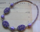 Scent of Lavender-polymer clay, glass and plastic beaded necklace, 20 inches or 51 cm