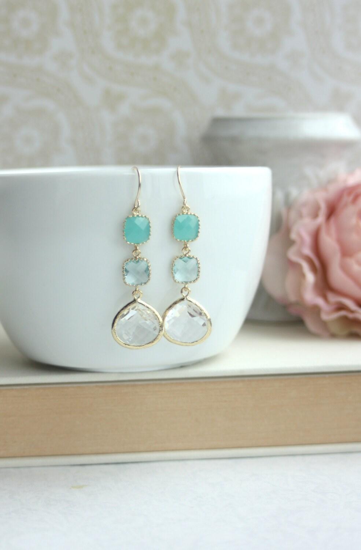 Mint green opal aquamarine blue light blue gold framed by marolsha - Light blue and mint green ...