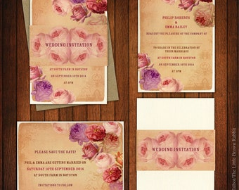 Vintage Rose Wedding Invitations, Shabby Chic Wedding, Vintage Wedding Stationery, Rustic Weddings, Pink, lilac, dusty pink , purple