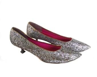Jack Schaefer Shoes / 60s Glitter Shoes / Silver Sparkle Shoes 9N