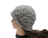 Made to Order--Beautiful Crocheted Hat in Light Grey/ Silver Gray,Women Hat,Beanie