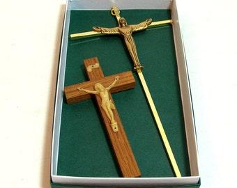 Two Vintage Crucifixes Catholic Christian Crosses