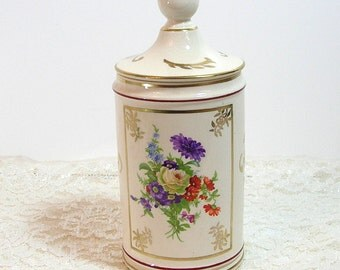 Vintage Covered Jar With Floral Bouquet